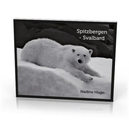 Spitzbergen Svalbard. Monochrome photo book, Nadine Hugo. Cover: polar bear.