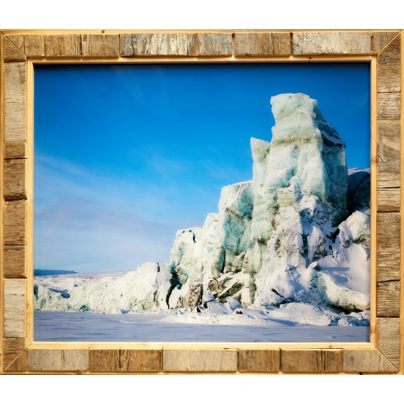 High quality photo print with Spitsbergen driftwood frame: glacier front on Spitsbergen's east coast
