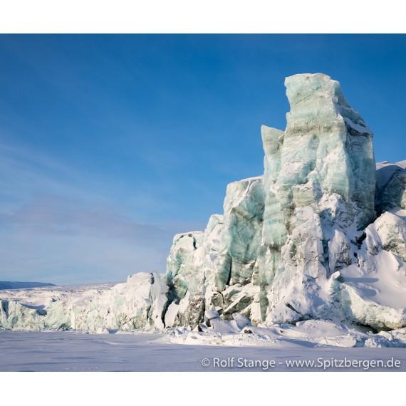 Foto med Svalbard-drivved-bilderamme: Heuglinbreen i Mohnbukta