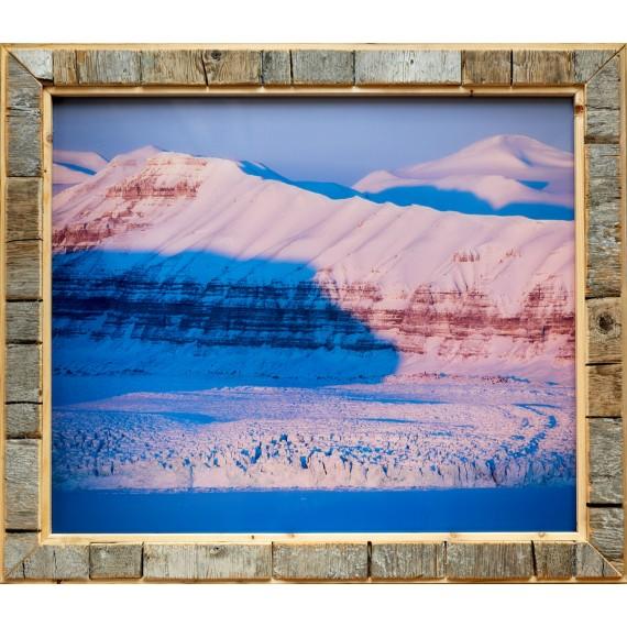 Fotodruck mit Treibholz-Bilderrahmen: Gletscherlandschaft im Tempelfjord