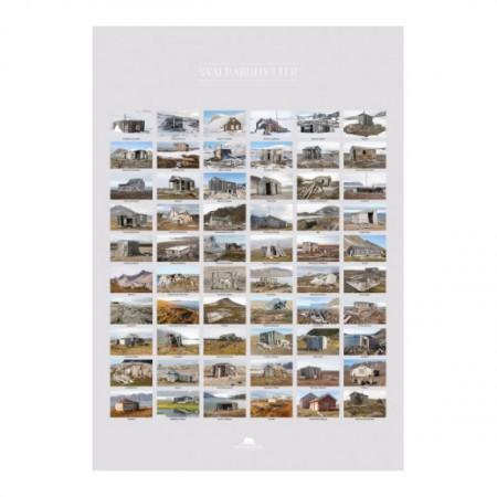 Poster Svalbardhytter: 60 Hütten rund um Spitzbergen, 100 x 70 cm groß.